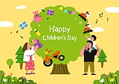 어린이 (인간의나이), 어린이날 (홀리데이), 프레임, 연례행사 (사건), 가정의달, 부모, 나무, 선물 (인조물건)