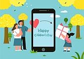 어린이 (인간의나이), 어린이날 (홀리데이), 프레임, 연례행사 (사건), 가정의달, 스마트폰, 꽃, 봄