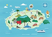 여행, 지도, 랜드마크, 대한민국 (한국), 나침반, 제주시 (제주도), 제주도 (대한민국), 섬