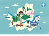 여행, 지도, 랜드마크, 대한민국 (한국), 나침반, 서울 (대한민국), 남산 (서울)