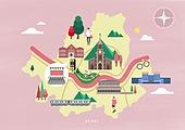 여행, 지도, 랜드마크, 대한민국 (한국), 나침반, 서울 (대한민국), 명동성당