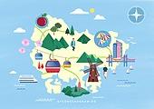 여행, 지도, 랜드마크, 대한민국 (한국), 나침반, 경상남도 (대한민국), 부산 (대한민국), 케이블카