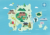 여행, 지도, 랜드마크, 대한민국 (한국), 나침반, 경상북도 (대한민국), 한옥, 첨성대