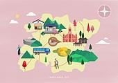 여행, 지도, 랜드마크, 대한민국 (한국), 나침반, 전라북도 (대한민국), 한옥