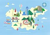 여행, 지도, 랜드마크, 대한민국 (한국), 나침반, 충청남도 (대한민국), 건물외관 (건설물), 회전목마