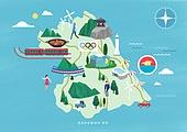 여행, 지도, 랜드마크, 대한민국 (한국), 나침반, 강원도, 올림픽스타디움 (스타디움), 파라솔 (인조물건)