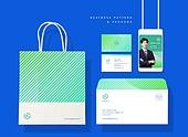 비즈니스, 오브젝트, 스테이셔너리, 패턴, 패키지, 쇼핑백, 명함, 봉투, 사원증, 세트