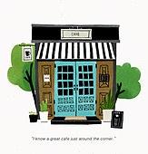 카페, 인테리어, 건축, 디자인, 화분, 건물외관 (건설물), 실외 (Setting), 나무