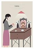 애도 (정지활동), 장례, 죽음, 국화, 슬픔, 영정사진 (포트레이트), 애완동물, 고양이 (고양잇과)