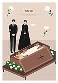 애도 (정지활동), 장례, 죽음, 국화, 슬픔, 관 (인조물건)