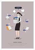 비즈니스, 일 (물리적활동), 과로, 번아웃증후군 (격언), 피로 (물체묘사), 비즈니스우먼, 책, 서류, 직업 (역할)