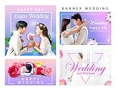 웹템플릿, 배너, 팝업, 결혼 (사건), 웨딩드레스 (드레스), 결혼식역할 (역할), 부부, 약혼 (축하이벤트), 축하이벤트 (사건), 파티, 신랑, 신부 (결혼식역할), 부케, 축하 (컨셉)