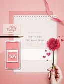 5월, 가정의달 (홀리데이), 편지, 카네이션, 감사, 사람손 (주요신체부분)