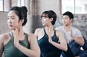 한국인, 여성, 남성, 요가, 요가수업 (요가), 스트레칭, 운동, 비틀기