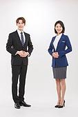 한국인, 여성, 남성, 비즈니스맨, 비즈니스우먼, 미소, 신입사원, 바른자세, 영업사원 (판매업)
