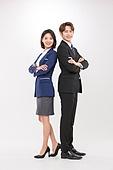 한국인, 여성, 남성, 비즈니스맨, 비즈니스우먼, 미소, 등맞대기, 신입사원, 영업사원 (판매업)
