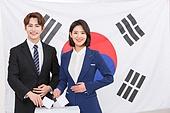 한국인, 여성, 남성, 미소, 투표 (선거), 투표함 (인조물건), 선거 (사건), 투표함, 투표용지 (서류), 태극기