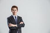 한국인, 비즈니스, 비즈니스맨, 행동 (모션), 활력 (컨셉), 팔짱[혼자] (몸의 자세), 미소