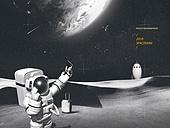 그래픽이미지 (Computer Graphics), 합성 (Computer Graphics), 합성용백그라운드 (이미지), 우주비행사 (운송직업), 여행자 (역할), 휴가, 휴식, 지구 (행성)