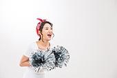 한국인, 여성, 치어리더 (역할), 폼폼 (인조물건), 행동 (모션), 미소, 밝은표정