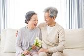 한국인, 노인, 부부, 노인커플 (이성커플), 꽃다발, 미소, 애정 (밝은표정), 기쁨