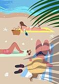 휴가, 여름, 여행, 바다, 휴양지, 해변 (해안), 수영복, 비키니, 야자잎 (잎), 해변, 일광욕 (정지활동)