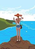 휴가, 여름, 여행, 바다, 휴양지, 해변 (해안), 수영복, 비키니, 절벽