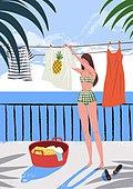 휴가, 여름, 여행, 바다, 휴양지, 해변 (해안), 수영복, 비키니, 야자잎 (잎), 빨래