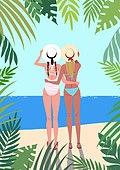 휴가, 여름, 여행, 바다, 휴양지, 해변 (해안), 수영복, 비키니, 야자잎 (잎), 뒷모습 (뷰포인트), 밀짚모자, 해변