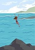 휴가, 여름, 여행, 바다, 휴양지, 해변 (해안), 수영복, 비키니, 뒷모습, 다이빙 (내려가기)