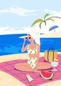 휴가, 여름, 여행, 바다, 휴양지, 해변 (해안), 수영복, 비키니, 야자잎 (잎), 일광욕 (정지활동), 해변, 수박