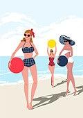 휴가, 여름, 여행, 바다, 휴양지, 해변 (해안), 수영복, 비키니, 해변, 비치볼