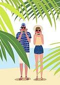 휴가, 여름, 여행, 바다, 휴양지, 해변 (해안), 커플, 수박