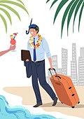 휴가, 여름, 여행, 비즈니스맨, 야자잎 (잎), 여행가방, 바다