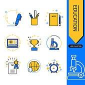 아이콘, 아이콘세트 (아이콘), 라인아이콘, 교육 (주제), 노트, 연필, 현미경
