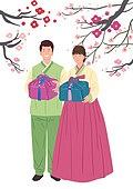 결혼, 커플, 신혼부부, 한복, 꽃, 선물 (인조물건)