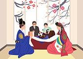 결혼, 커플, 신혼부부, 폐백, 한복, 꽃, 부모, 결혼식