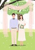 결혼, 커플, 신혼부부, 결혼식, 드레스, 셀프웨딩, 잔디밭 (경작지)