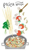 레시피, 요리하기 (음식준비), 음식재료, 냄비, 파스타, 파슬리, 바지락