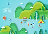 일러스트, 종이, 페이퍼아트, 평면 (물체묘사), 여름, 여행, 휴가 (주제), 캠핑