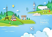 일러스트, 종이, Paper Craft (이미지테크닉), 평면 (물체묘사), 여름, 여행, 휴가 (주제), 캠핑
