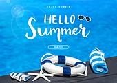 그래픽이미지, 팝업, 포스터, 여름, 상업이벤트 (사건), 세일 (사건), 해변, 휴가, 휴가 (주제)