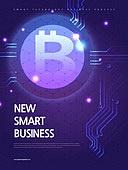 기하학모양 (도형), 비즈니스, 4차산업혁명 (산업혁명), 첨단기술 (기술), 포스터, 비트코인