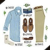 남성복, 패션, 오브젝트, 손그림, 옷, 액세서리 (인조물건), 지갑, 벨트 (액세서리)