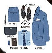남성복, 패션, 오브젝트, 손그림, 옷, 재킷, 슈트 (옷), 클러치백 (핸드백), 넥타이 (목장식)