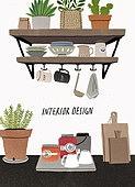 인테리어, 집꾸미기 (집수리), 가구, 집, 목재 (재료), 주방, 화분, 그릇, 도마