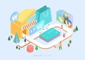 기술, 4차산업혁명 (산업혁명), 스마트시티, 라이프스타일, 쇼핑, 쇼핑백, 신용카드