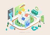 기술, 4차산업혁명 (산업혁명), 스마트시티, 라이프스타일, 아파트, 재활용 (환경보호), 재활용심볼 (심볼), 스마트폰