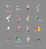 사람, 패턴, 아이콘, 아이콘세트 (아이콘), 운동, 건강한생활 (주제), 요가, 라이프스타일