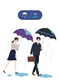 날씨, 사람, 라이프스타일, 비 (물형태), 우산 (액세서리), 비즈니스맨, 비즈니스우먼, 출퇴근 (여행하기)